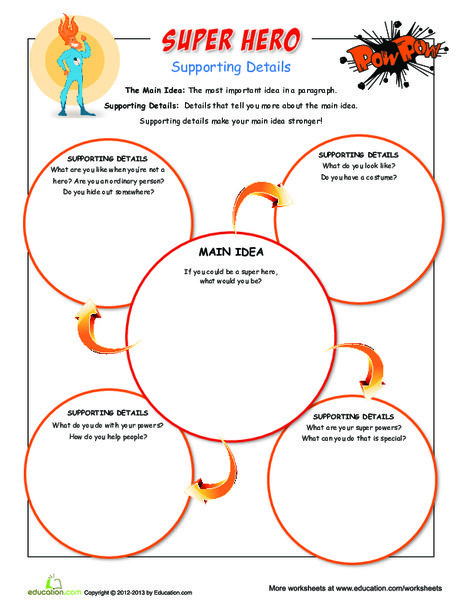 Third Grade Reading & Writing Worksheets: Super Hero Supporting Details