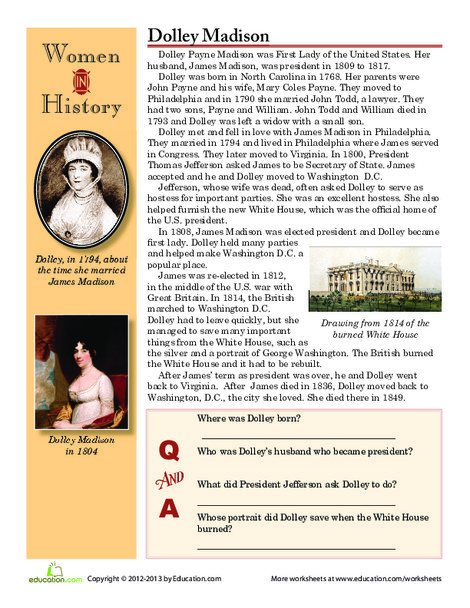 Fourth Grade Reading & Writing Worksheets: Women in History: Dolley Madison