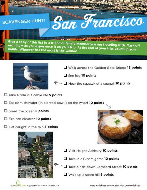 Third Grade Offline games Worksheets: San Francisco Scavenger Hunt