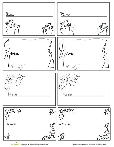 Kindergarten Arts & crafts Worksheets: Printable Name Tags