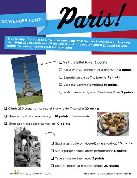 Fourth Grade Offline games Worksheets: Paris Scavenger Hunt