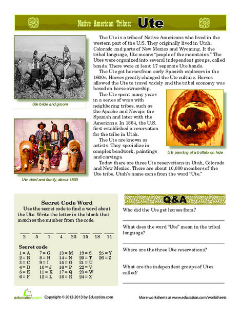 Third Grade Reading & Writing Worksheets: Native American Tribes: Ute