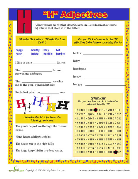 """Third Grade Reading & Writing Worksheets: """"H"""" Adjectives"""