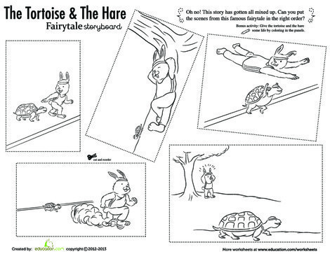 First Grade Reading & Writing Worksheets: The Tortoise and the Hare
