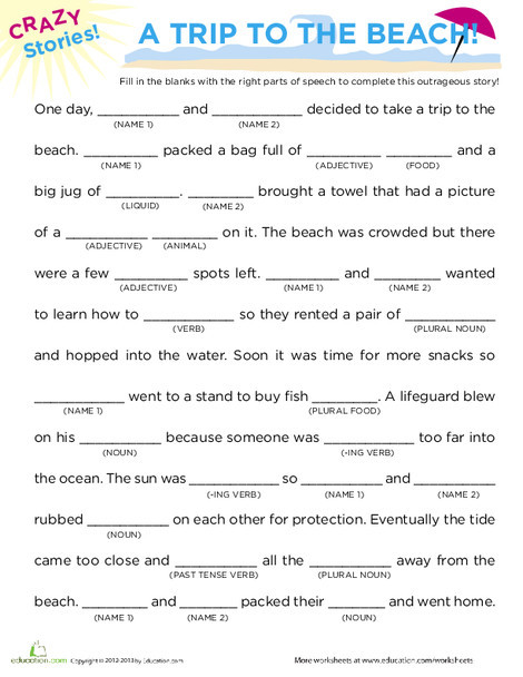 Third Grade Reading & Writing Worksheets: Fill in the Blanks Story: Beach