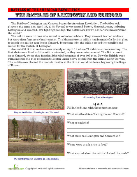 Fourth Grade Reading & Writing Worksheets: The Battles of Lexington and Concord