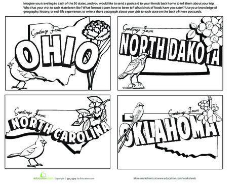 Fourth Grade Social studies Worksheets: United States Postcards #8