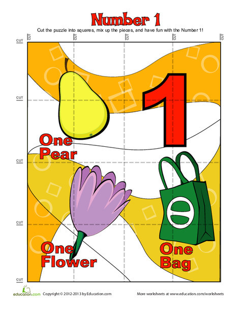 "Preschool Math Worksheets: Number ""One"" Puzzle"