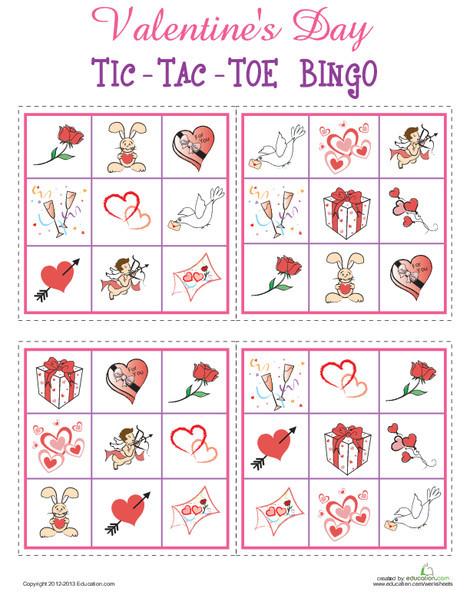 Kindergarten Offline games Worksheets: Valentine's Day Bingo