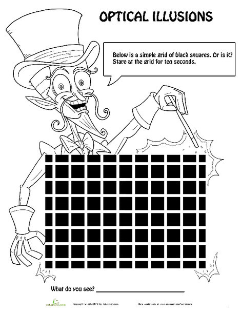 Fourth Grade Offline games Worksheets: Optical Illusions for Kids