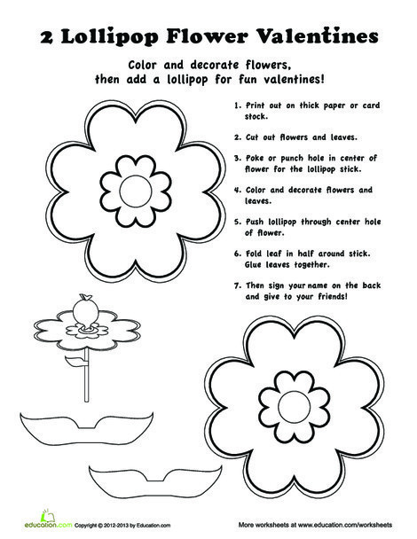 First Grade Arts & crafts Worksheets: Candy Valentines