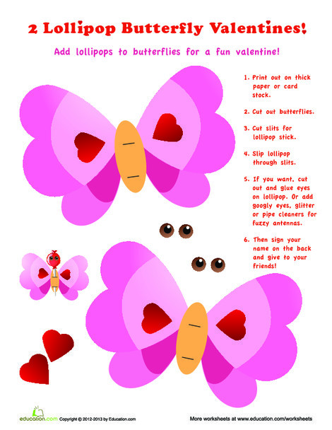 Second Grade Arts & crafts Worksheets: Candy Valentine