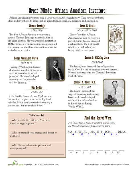 Fourth Grade Social studies Worksheets: African American Inventors