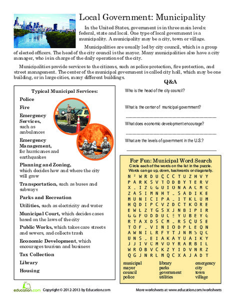 Third Grade Reading & Writing Worksheets: Local Government