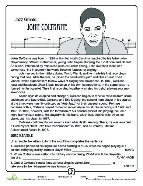 Fourth Grade Reading & Writing Worksheets: Jazz Greats: John Coltrane