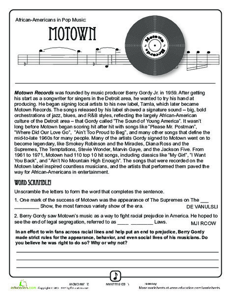 Fourth Grade Reading & Writing Worksheets: History of Motown