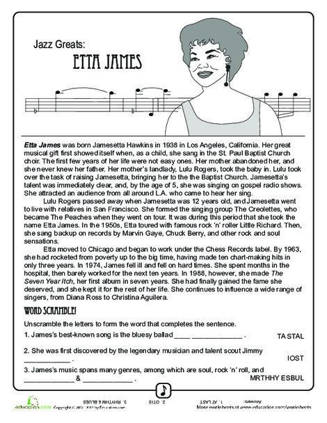 Fourth Grade Reading & Writing Worksheets: Jazz Greats: Etta James