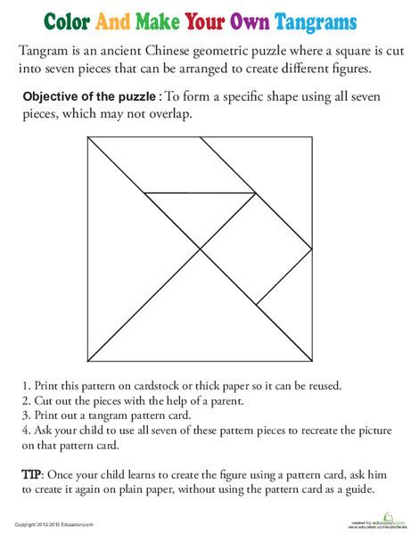 Kindergarten Math Worksheets: Color a Tangram Template