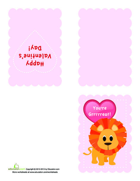 Second Grade Arts & crafts Worksheets: Valentine Card