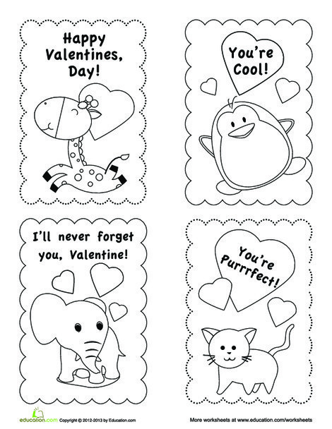 First Grade Holidays Worksheets: Valentine's Day Card Templates