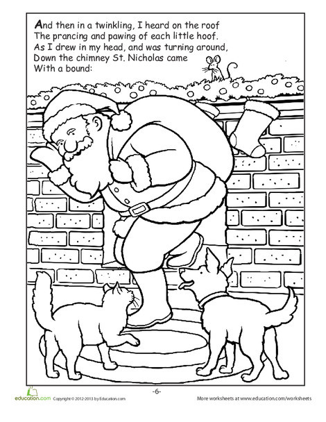 Kindergarten Reading & Writing Worksheets: The Night Before Christmas: Part 2