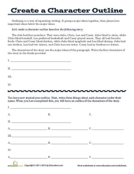 Fifth Grade Reading & Writing Worksheets: Outline a Fictional Character