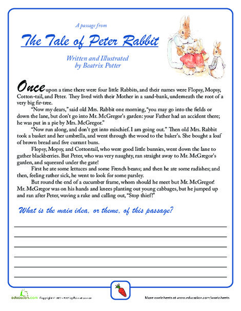 Fifth Grade Reading & Writing Worksheets: Find the Main Idea: Peter Rabbit