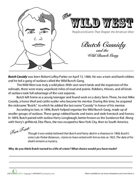 Fifth Grade Social studies Worksheets: The Wild West: Butch Cassidy