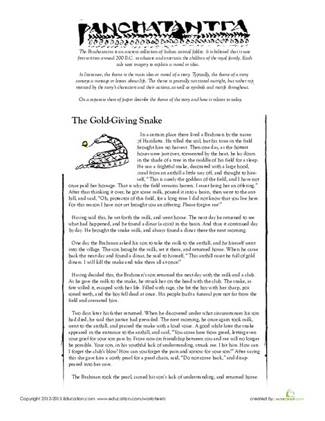 "Fifth Grade Reading & Writing Worksheets: Panchatantra: ""The Gold-Giving Snake"""