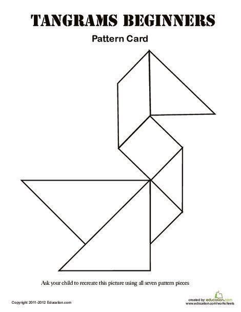 Kindergarten Math Worksheets: Easy Tangrams Puzzle #1