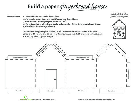 Third Grade Arts & crafts Worksheets: Paper Gingerbread House