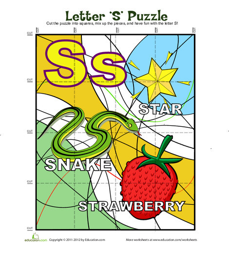 "Kindergarten Reading & Writing Worksheets: Letter ""S"" Puzzle"