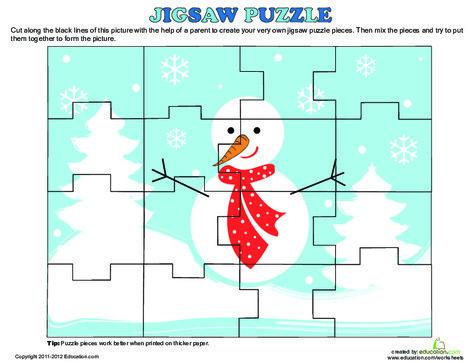Preschool Offline games Worksheets: Christmas Puzzle