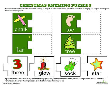 Kindergarten Reading & Writing Worksheets: Christmas Rhyming Words