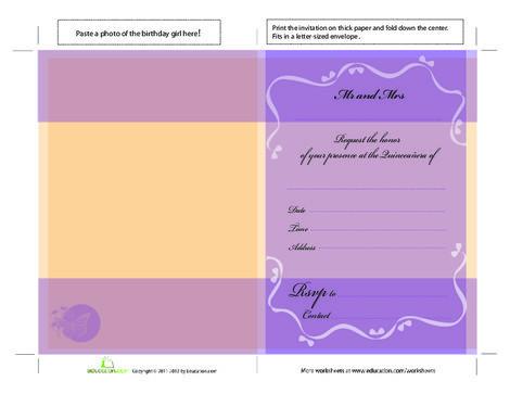 High School Arts & crafts Worksheets: Quinceañera Invitations Template