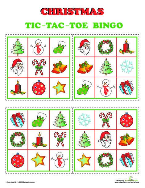 Kindergarten Offline games Worksheets: Christmas Bingo