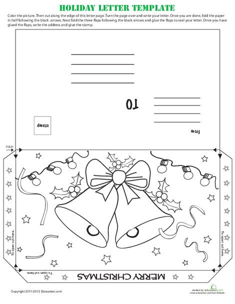 Second Grade Reading & Writing Worksheets: Holiday Postcard Template