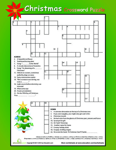 Fifth Grade Reading & Writing Worksheets: Christmas Crossword