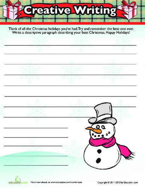 Fourth Grade Reading & Writing Worksheets: Christmas Writing Activity