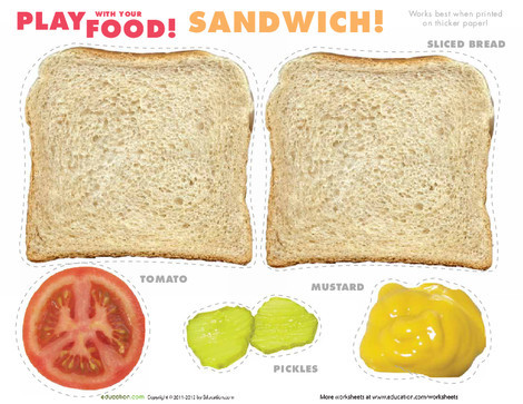 Preschool Arts & crafts Worksheets: Play Food: Sandwiches