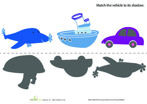 Preschool Math Worksheets: Vehicle Shapes