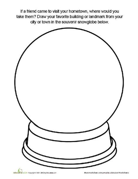 Third Grade Coloring Worksheets: Souvenir Snow Globe