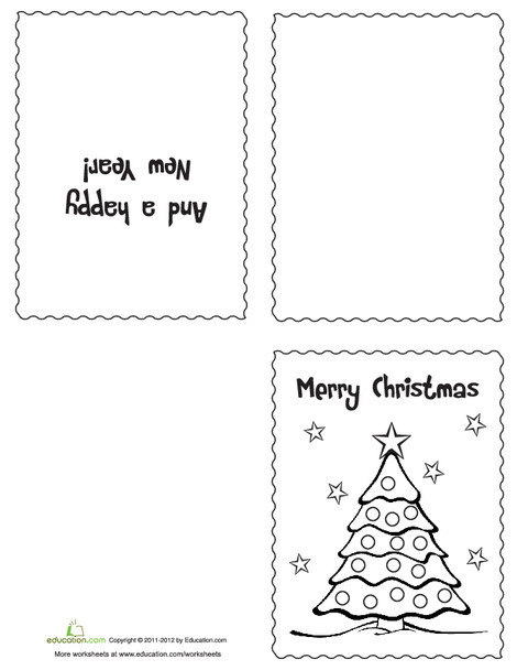 First Grade Arts & crafts Worksheets: Color Your Own Christmas Cards