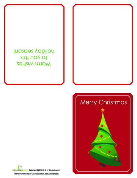 Third Grade Arts & crafts Worksheets: Print Your Own Christmas Cards!