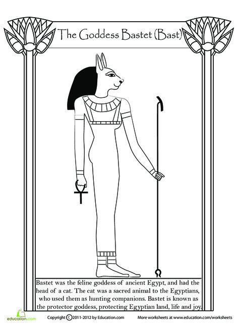 Fifth Grade Social studies Worksheets: Egyptian Goddess Bastet