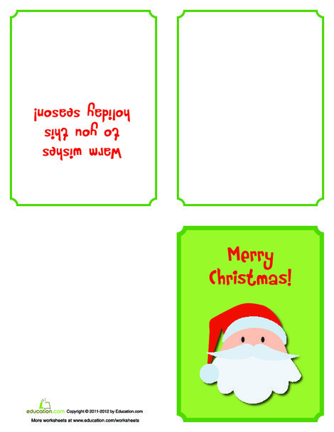Kindergarten Arts & crafts Worksheets: Printable Santa Christmas Card
