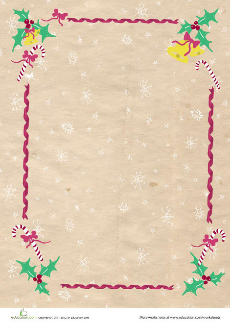 First Grade Reading & Writing Worksheets: Christmas Stationery