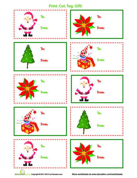 Third Grade Arts & crafts Worksheets: Printable Christmas Gift Tags