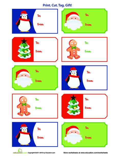 Third Grade Arts & crafts Worksheets: Christmas Gift Tags