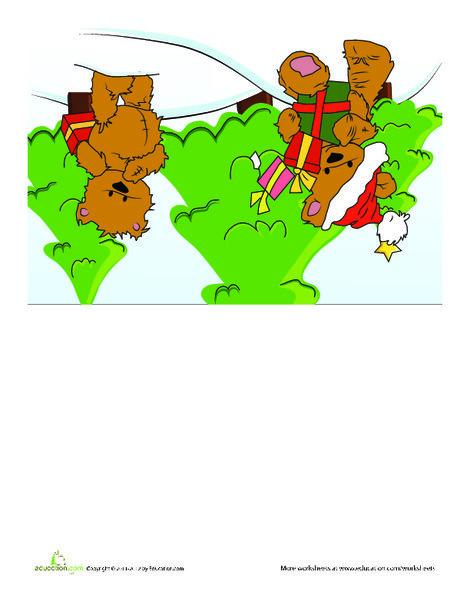 First Grade Arts & crafts Worksheets: Teddy Bear Christmas Card